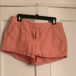 J. Crew size 6 pink/orange linen shorts